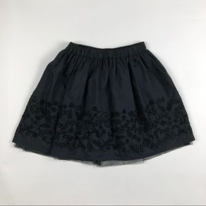 Lands' End Embroidered Faux Silk Twirl Skirt